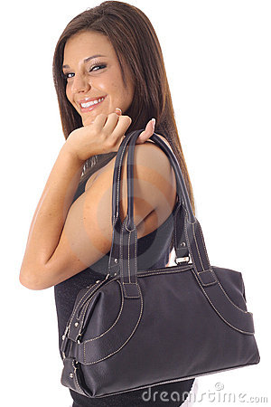 Happy model with purse