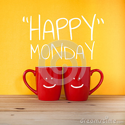 Free Happy Monday Word.Two Cups Of Coffee Stock Photo - 71346400
