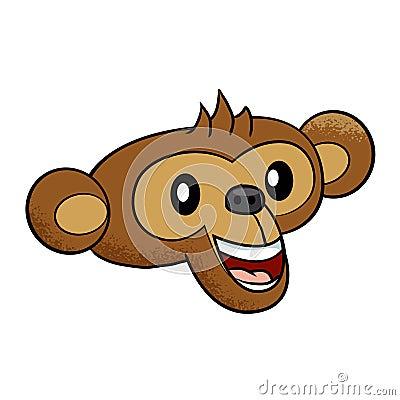 Happy Cartoon Gorilla Face Happy Monkey Fa...