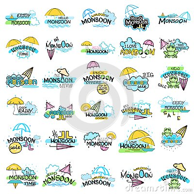 Free Happy Monsoon Sale Offer Promotional And Advertisment Banner Stock Images - 107544904