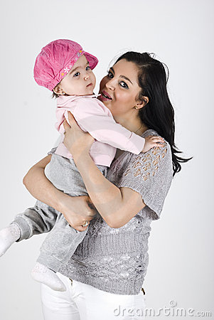 Happy mother with baby girl
