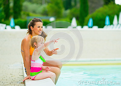Happy Mother And Baby Girl Sitting Near Pool Stock Photo Image 44276961