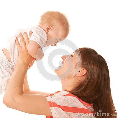 Happy mother and baby playing and laughing.