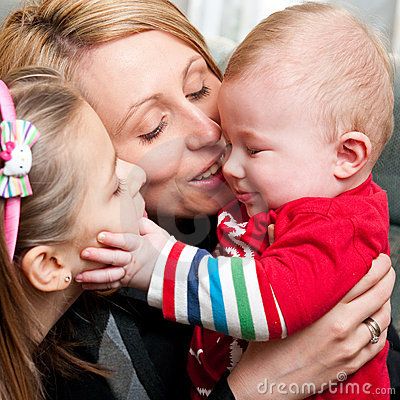 Happy mother with children