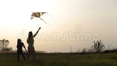 Happy mother and daughter on meadow with a kite stock footage