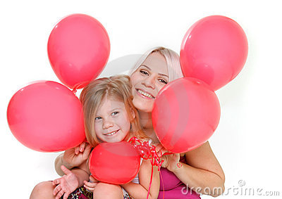 Happy mother and daughter with red balloons