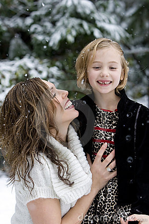 Happy Mother and Daughter in the Snow