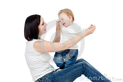 Happy mother having fun with her baby boy