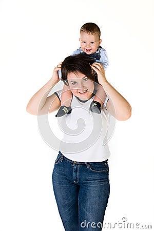 Happy mother her baby