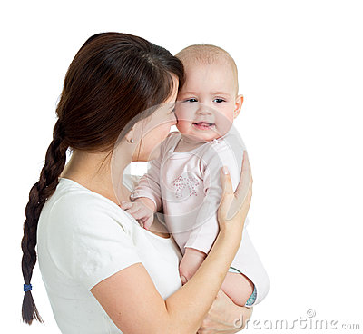 Happy mother holding her daughter baby isolated