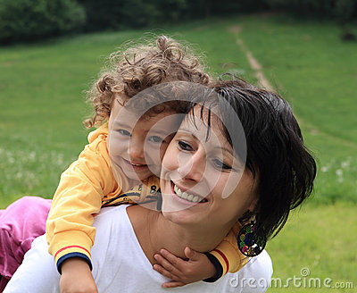 Happy mother mom and child