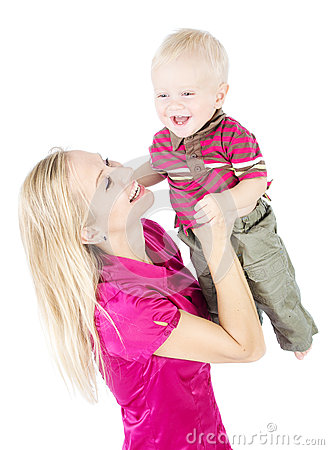 Happy mother playing with child raising up
