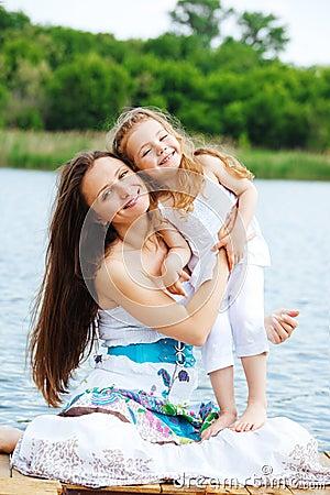 Happy mother and preschool girl