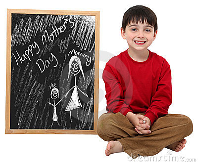 Happy Mother s Day Boy with Clipping Path