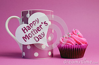 Happy Mother s Day cupcake with pink polka dot coffee mug
