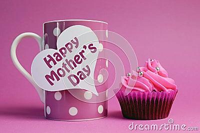 Happy Mother s Day cupcake with pink polka dot coffee mug