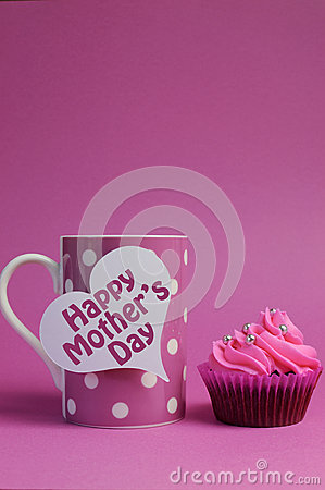 Happy Mother s Day cupcake with pink polka dot coffee mug - vertical with copy space.