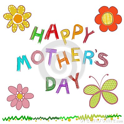 Free Happy Mother`s Day Greeting Card. Doodle Flowers Hand Drawn ``happy Mother`s Day`` Text Royalty Free Stock Photo - 110968765