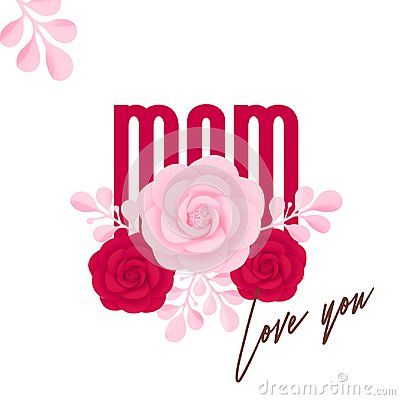 Free Happy Mother's Day. Mom, Love You, Pink And Red Stock Image - 112189991