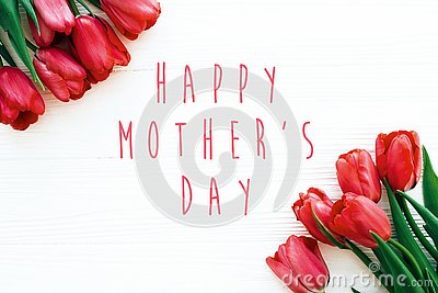 Happy Mother`s Day text and beautiful red tulips on white wooden background flat lay. Happy mother day greeting card with spring Stock Photo
