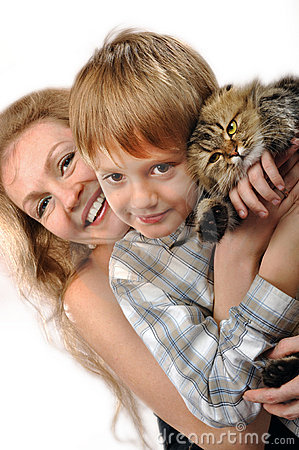 Happy mother and son with a cat