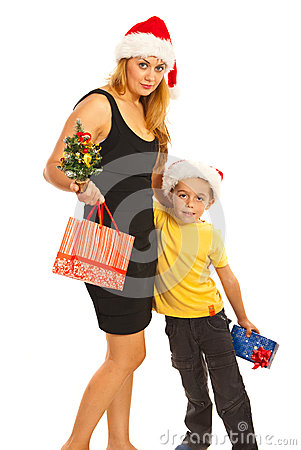 Happy mother and son with gifts