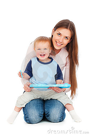 Happy mother with son playing