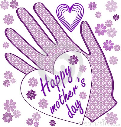 Happy mothers day billboard with small flowers and hearts. Light purple design for mothers day party Vector Illustration