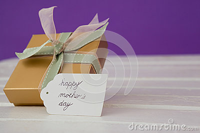 Happy mothers day card with gift box Stock Photo