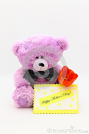 Happy Mothers Day Card - Teddy Bear Stock Photo