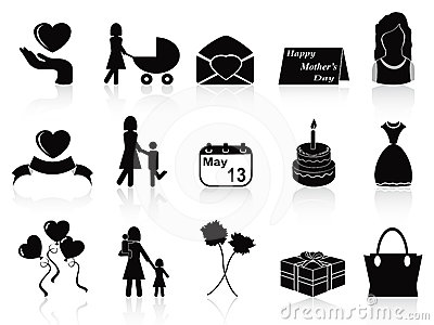 Happy mothers day icons set
