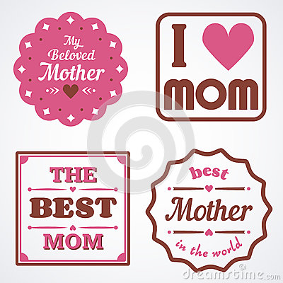 Happy Mothers Day Lettering Calligraphic Emblems and Badges Set. Vector Design Elements For Greeting Card and Other Print Template Stock Photo