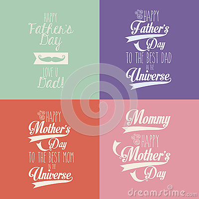 Happy mothers and fathers day Vector Illustration
