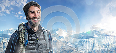 Happy Mountaineer Stock Photo