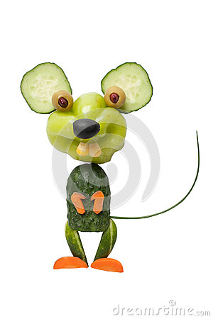 Free Happy Mouse Made Of Vegetables Royalty Free Stock Image - 64075376