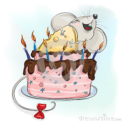 Free Happy Mouse With A Cake Stock Image - 57351211