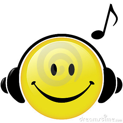 Happy Music Headphones Note Smiley Face