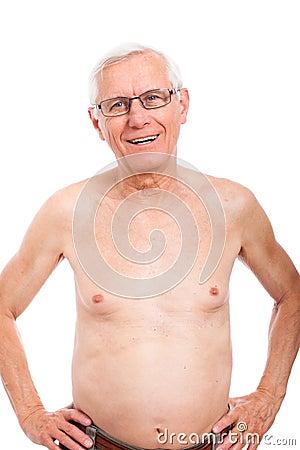 Happy naked elderly man