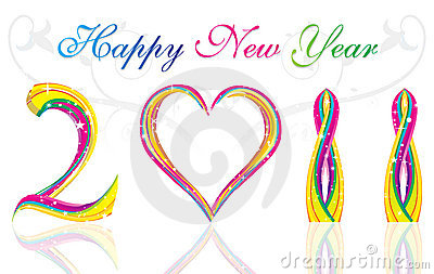 Happy new year 2011  colorful wave & heart concept