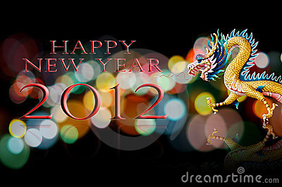 Happy new year 2012 with dragon statue