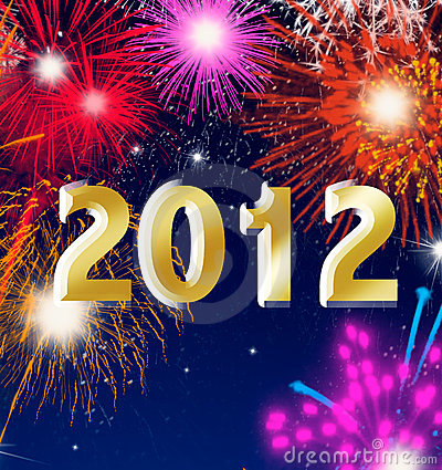 Happy new year 2012 with fireworks