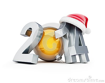 Happy new year 2012 santa hat 3d Illustrations
