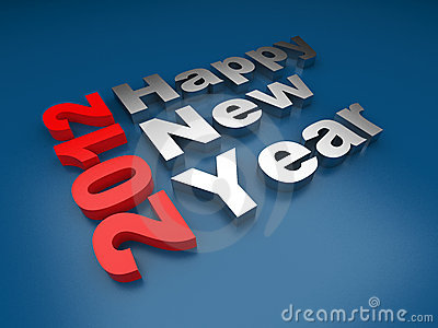 Happy New year 2012 text. 3d  on blue