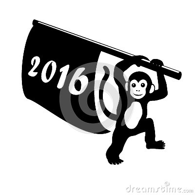 Free Happy New Year 2016 Silhouette Of Monkey With Flag On White Background. Symbol Chinese Zodiac Year Of The Monkey. Vector Christmas Royalty Free Stock Photos - 61063578