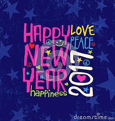 Free Happy New Year 2017 With Inspiring Handwritten Typography Stock Photo - 78351610