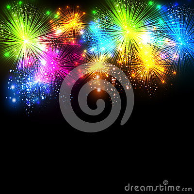 Free Happy New Year And Christmas Firework Vector Celeb Stock Photo - 34987940