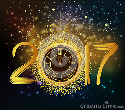 2017 Happy New Year Background With Gold Clock Vector ...