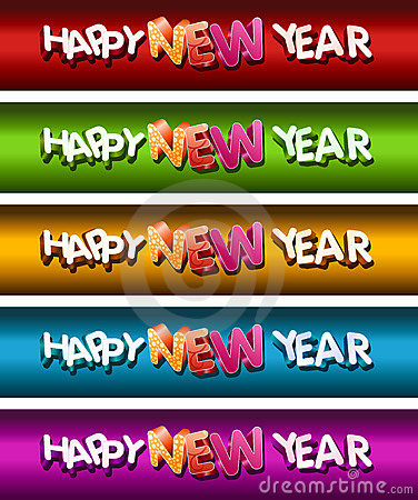 Happy New Year Banner Set.