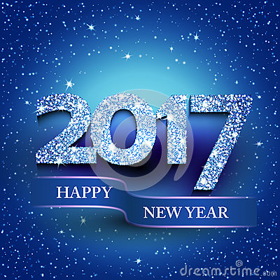 Happy new year 2017 blue background Vector Illustration