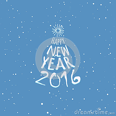 Happy New Year Blue Greeting Card Template Vector Image – New Year Greeting Card Template